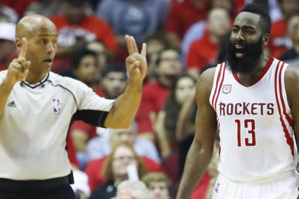 45705fb10bb9 James Harden protests one of the two fouls referee Marc Davis called on him  in the 2nd quarter of the Spurs-Rockets Game 3 in Houston