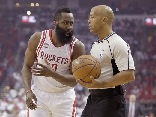 1c3c32c23018 James Harden pleads his case to official Marc Davis during Game 3 of the  Spurs-Rockets series Friday night in Houston